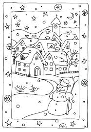 Winter Sports Coloring Pages Free Printable Snowy Houses For Pre K Sheets First Grade Medium