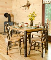 Rustic Hickory Solid Top 60 Table With 6 Chairs