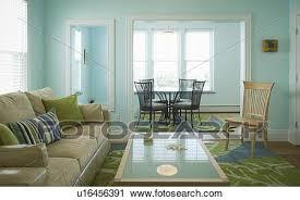 blau grün wohnzimmer mit essecke stock bild u16456391