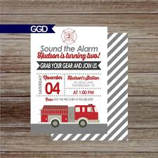 Fire Truck Birthday Party Invitation Firefighter Birthday | Etsy