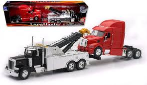 100 Semi Truck Toy New Ray SS12053 S 1 32 Scale Peterbilt Tow With Red Peterbilt Cab