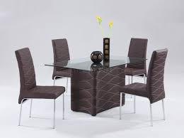 Brown Modern Dining Room Glass Top Table W/Optional Chairs