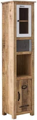 woodkings hochschrank pune badmöbel holz rustiakl massiv mango natur grau weiß badezimmer badezimmerhochschrank badschrank bad modern