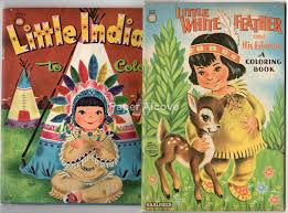 Native American Indians Coloring Books 1950s Vintage Original Old Saalfield Whitman Little To Color White Feather And His Friends