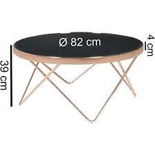 finebuy design couchtisch glasplatte schwarz gestell kupfer ø 82 cm wohnzimmertisch verspiegelt sofatisch modern glastisch kaffeetisch rund