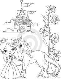 The Beautiful Princess And Her Cute Unicorn Coloring Page Stock Photo