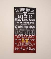In This House We Do Disney Wooden Sign Shabby Chic Quote Home Decor Childrens Room