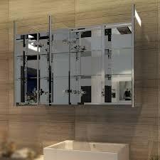 spiegelschrank led 3 türig badezimmerspiegel mit beleuchtung 90 x 65 cm infrarot sensorschalter badezimmerspiegel badschrank mit