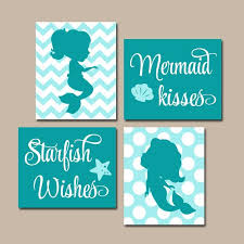 MERMAID Wall Art Canvas Or Prints Sister BATHROOM Shared Sisters Bedroom Decor