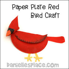 Cardinal Or Bird Paper Plate Craft For Children