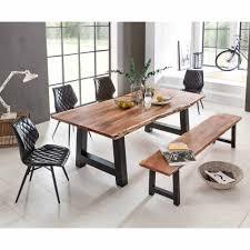 esszimmer tischgruppe mit baumkantentisch und bank loft design 6 teilig