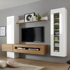 moderne wohnwand in hochglanz weiß mit eiche hell chur 61 inkl led be