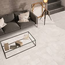 White Living Room Floor Tiles