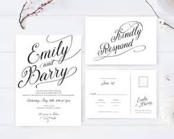 Simple Black And White Wedding Invitations RSVP Cards