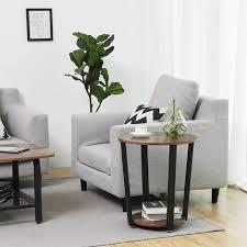 vasagle runder beistelltisch kaffeetisch im industrie design einfacher aufbau sofatisch mit eisengestell tisch für wohnzimmer schlafzimmer