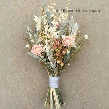 Peach Dried Flower Wedding Bouquet Preserved Natural Bridal