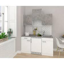 respekta küchenzeile kb150wwbg 150 cm weiß beton optik