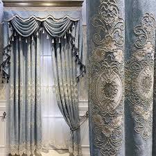 europäischen stil luxus chenille gestickte vorhänge