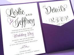 Pocket Wedding Invitation Purple Lavender Wishes Fold