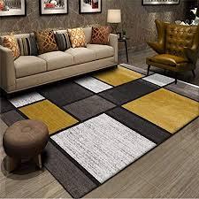 yxishome teppich moderner kurzflor weich teppiche geometrisches rechteck design patchwork teppich senf gelb weiß grau wohnzimmer schlafzimmer