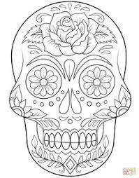 Sugar Skull With Flowers Coloring Page From Day Of The Dead Category Select 24194 Printable Crafts Cartoons Nature Animals Bible And Many More