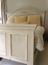 Distressed White Bedroom Furniture by Bed Painted With Annie Sloan Old Ocre Chalk Paint Distressed And