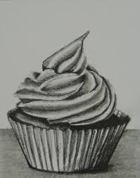 Drawn cupcake pencil drawing 4