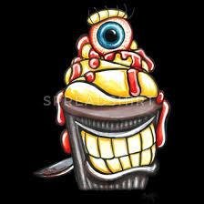 leckerer muffin messer kuchen auge geschenk comic frauen t shirt schwarz