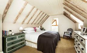 Exposed Rafters And Trusses In A Bedroom With Vaulted Ceiling