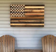 Reclaimed Pallet American Flag Hanging Wall Art 38 Long X 25 Wide Natural By WoodPallet FlagsAmerican