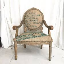 Burlap Coffee Sack French Style Rustic Dining Accent Chair Upholstered In Turquoise Fabric