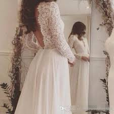 Discount 2017 Lace And Chiffon Beach Wedding Dress Long Sleeve Rustic Vestidos De Noivas Para Casamento On Line Dresses Slim A