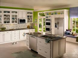 Kitchen Awesome Green Wall White Kitchens Cabinet Island Black Countertop Appliances Leicht Texture Backsplash Tiles Cupboard Bay Window Blue