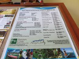 Anvaya Cove Beach Nature Club List And Prices Of Recreational Activities