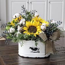 Farmhouse Decor Country Primitive Floral Arrangement Cotton Rustic Sunflowers And In Farm Fresh Bucket
