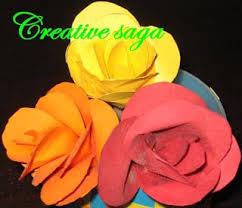 I Used Different Coloured Chart Papers To Make The Roses For Petal Cut Paper Into Small Circles And Pasted All Of