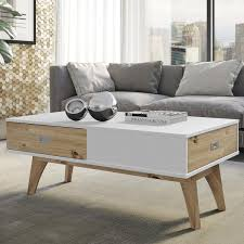Dayton Jackie 2Drawer Coffee Table In White And Natural Wood