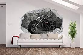 am wohnideen vlies fototapete poster 3d wandillusion loch in der wand motorrad