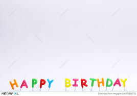Colorful happy birthday candles on white background