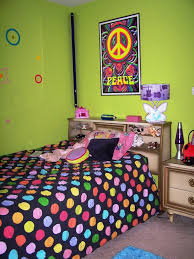 Unique Colorful Polkadot Cover Beds With Small Nightstands And Bright Green Wall Painted To Decorate In