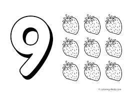 9 Numbers Coloring Pages For Kids Printable Free Digits Books