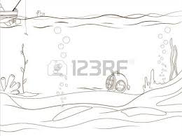 Educational Game Coloring Book Underwater Life Cartoon Colorful Vector Illustration Stock