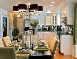 black chandeliers l dining set connected by white wooden