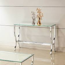 furniture adorable coaster chrome and tempered glass sofa table