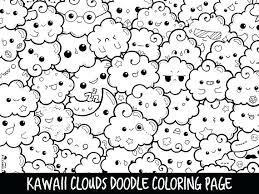 Free Printable Kawaii Coloring Pages Cute Clouds Doodle Page Fo