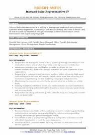 Inbound Sales Representative IV Resume Format