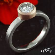 Ring Hammer Diamond Custom Two Toned Rustic Style Mounting Holding A Round Brilliant Cut Center Stone Set In 14kt Rose Gold Bezel