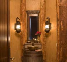 Unique Bathroom Ideas With Black Wall Sconce Rustic Vanity Lights Gold Single Bowl Vessel Sink