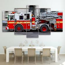 100 Fire Truck Wall Art 5 Piece Canvas HD Printed Engine Canvas Paintings