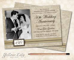 50th Wedding Anniversary Invitation Monogram Vintage Vow Renewal Marriage Photo Rustic